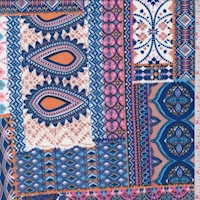 Blue/Pink/Orange Moroccan Patchwork Double Brushed Jersey Knit