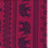 Cranberry/Black Elephant Stripe Double Brushed Jersey Knit