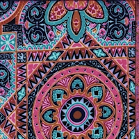 Light Blue/Pink/Navy Medallion Tile Double Brushed Jersey Knit