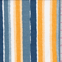 Slate/Gold Linen Look Stripe Double Brushed Jersey Knit