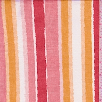 Brick/Pink Linen Look Stripe Double Brushed Jersey Knit