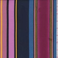 Magenta/Dark Navy Multi Stripe Double Brushed Jersey Knit