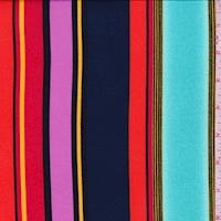 Aquamarine/Dark Navy Multi Stripe Double Brushed Jersey Knit