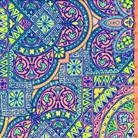 Lavender/Neon Pink/Lime Medallion Tile Double Brushed Jersey Knit