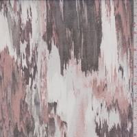 White/Rust/Black Brush Stroke Silk Organza