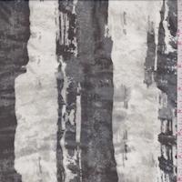 Stone/Black Painted Stripe Silk Chiffon