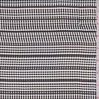 Off White/Black Deco Stripe Silk Chiffon