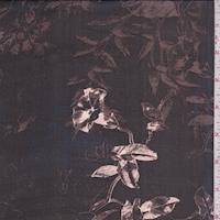 Black/Mocha/Beige Sketch Floral Silk Chiffon
