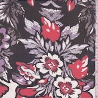 Black/Red/Purple Floral Silk Chiffon