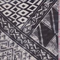 Slate/Ivory Aztec Tile Silk Chiffon