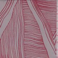 Dusty Grey/Crimson Linear Triangle Silk Chiffon