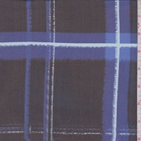 Black/Cobalt Plaid Silk Chiffon