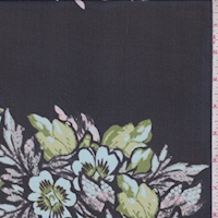 Black/Pale Blue Floral Block Silk Chiffon