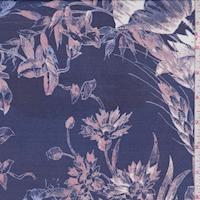 Deep Sea Blue/Mauve Sketch Floral Silk Chiffon