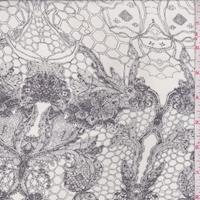 Pale Grey/Slate Floral Lace Print Silk Chiffon