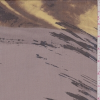 Dark Taupe/Black/Ochre Brush Stroke Silk Chiffon