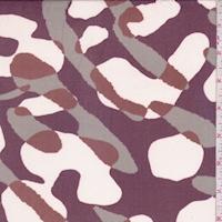 Mulberry/Sage/Rust Abstract Silk Chiffon