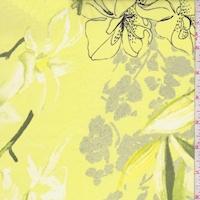 Bright Lemon Modern Floral Silk Chiffon