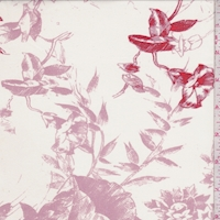 Pearl/Dusty Mauve Sketch Floral Silk Chiffon