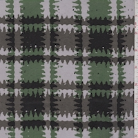 Dove/Green Ruffled Plaid Silk Chiffon