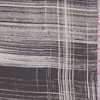 Smoke/Black Brush Stroke Plaid Silk Chiffon
