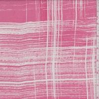 Dark Pink/Off White Brush Stroke Plaid Silk Chiffon