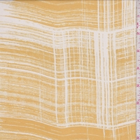 Mustard Gold/Off White Brush Stroke Plaid Silk Chiffon