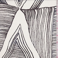 Off White/Black Linear Triangle Silk Chiffon