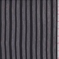 Black/Charcoal Woodgrain Satin Stripe Silk Chiffon