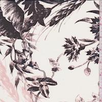 Pearl/Black/Blush Sketch Floral Silk Chiffon