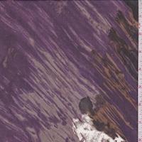 Purple/Black/Gold Brush Stroke Silk Chiffon