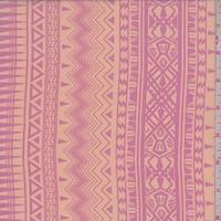 Pale Peach/Day Glo Pink Incan Stripe Georgette