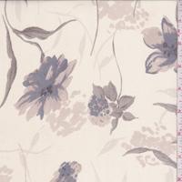 Pale Tan Floral Stem Silk Chiffon