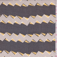 Grey/Black Zig Zag Stripe Crinkled Silk Chiffon