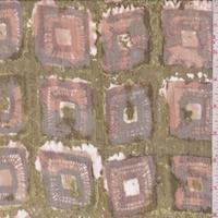 Army/Grey Batik Square Silk Crinkle Chiffon