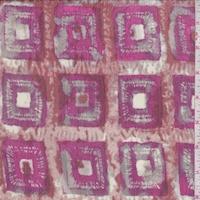 Fuchsia/Rust Batik Square Silk Crinkle Chiffon