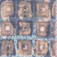 Apricot/Brown Batik Square Silk Crinkle Chiffon