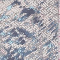 Sage/Blue Broken Wicker Silk Crinkle Chiffon