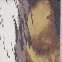 White/Cocoa/Ochre Abstract Silk Chiffon