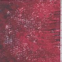 Crimson/Ruby/Black Striated Silk Chiffon