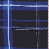 Sapphire/Black Plaid Silk Crepe de Chine