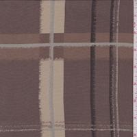 Taupe/Tan Plaid Silk Crepe de Chine