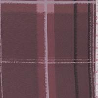Dark Mauve Plaid Silk Crepe de Chine