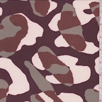 Mulberry/Sage/Rust Abstract Camo Silk Crepe de Chine