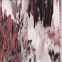 Berry/Clay/Grey Ikat Silk Crepe de Chine
