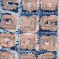 Sage/Ocean/Beige Batik Square Silk Crepe de Chine