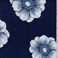 Dark Blue/White Floral Bloom Double Brushed Jersey Knit