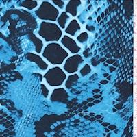 Sky Blue/Midnight Snakeskin Rayon Jersey Knit