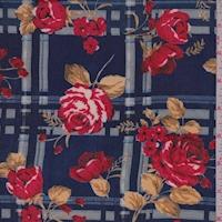 Navy/Ruby Plaid Floral Crepe Georgette