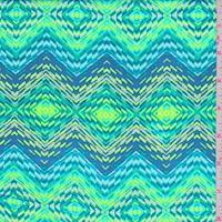 Lime/Blue/Turquoise Diamond Rayon Challis